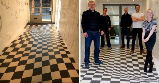 Cover Instalan piso con ilusión óptica que hará tropezar a cualquiera