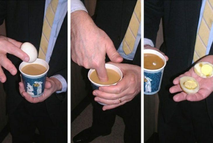 huevo caliente en café