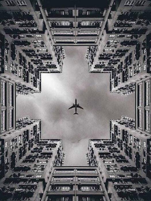 avión perspectiva debajo