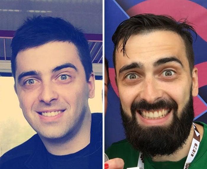 sin barba y con barba ojos enormes