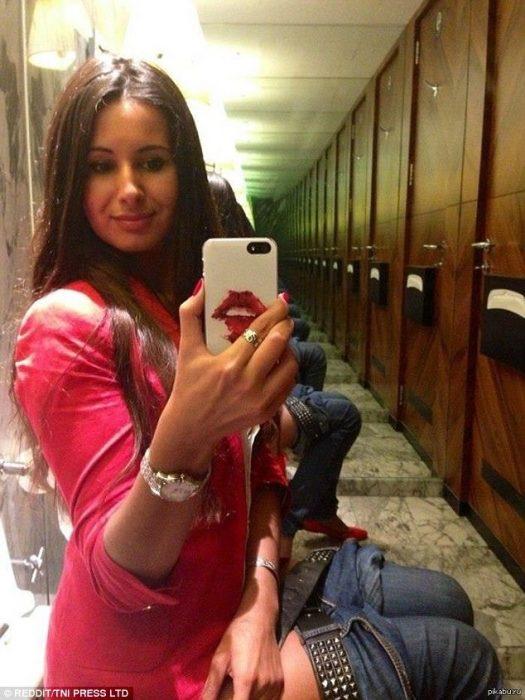 en el baño selfie