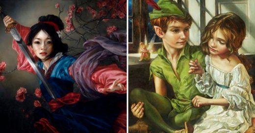 Cover Artista recrea personajes de Disney en sus versiones más clásicas