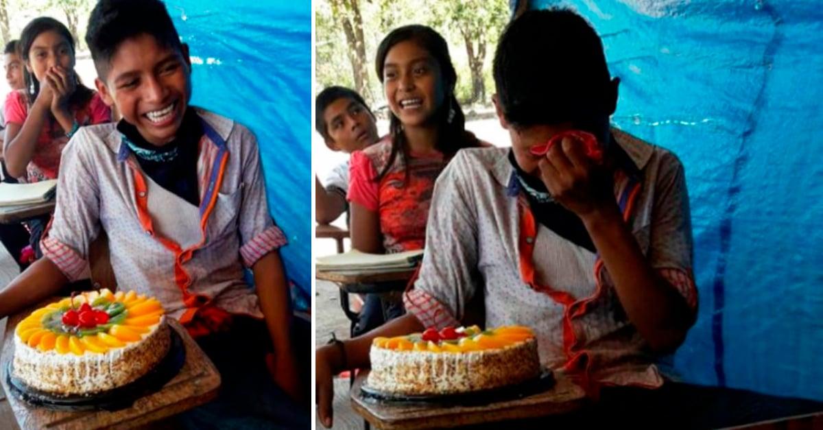 Maestra le dio a niño indígena su 1er pastel de cumpleaños