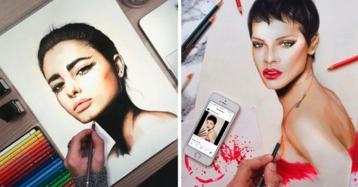 Cover Increíbles retratos de celebridades hechos con lápices de colores