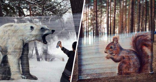 Cover Pinto animales con spray sobre envoltorio plástico en el bosque