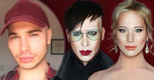 Cover Con brochas y maquillaje, este chico se transforma prácticamente en cualquier celebridad