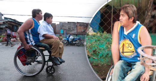 Cover Un padre discapacitado lleva en su silla de ruedas a su hijo todos los días