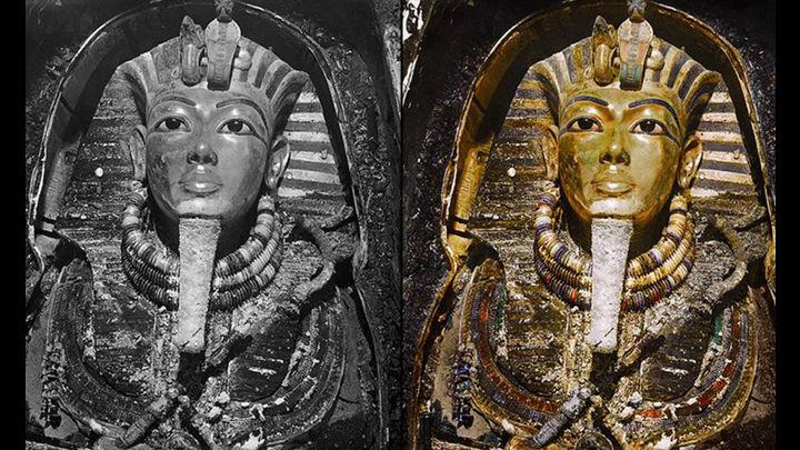 dos figuras egipcias una en blanco y negro la otra a color