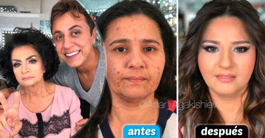 Cover Tendrás que ver dos veces a estas mujeres; este maquillador además de dejarlas bellas, les quitó edad