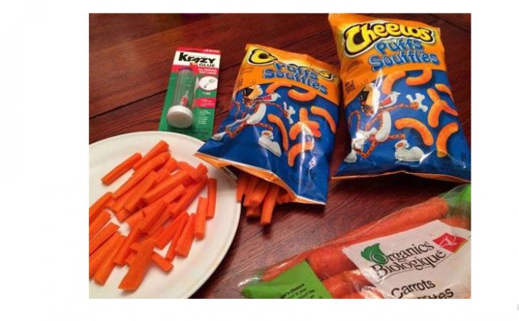 empaque azul con zanahoria