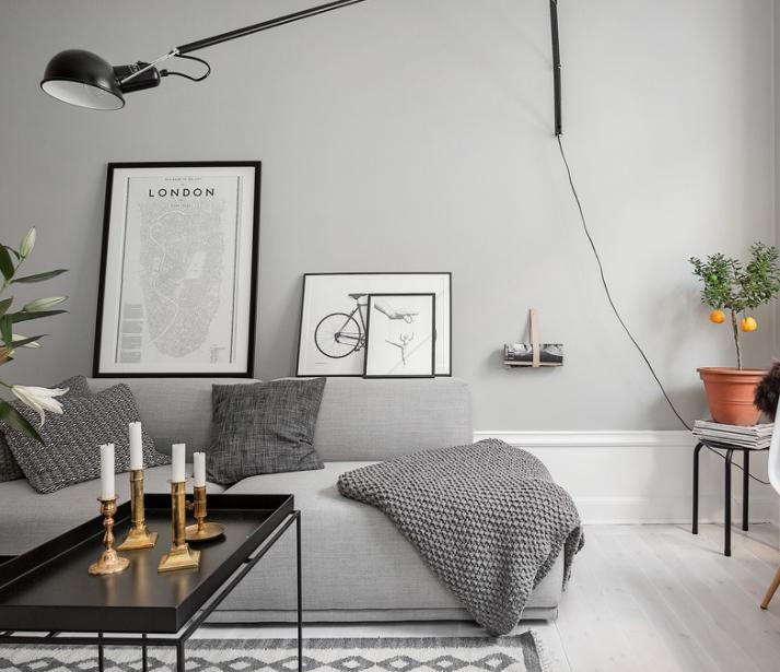 habitación en color gris