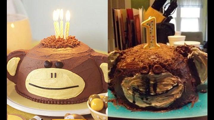pastel con figura de mono