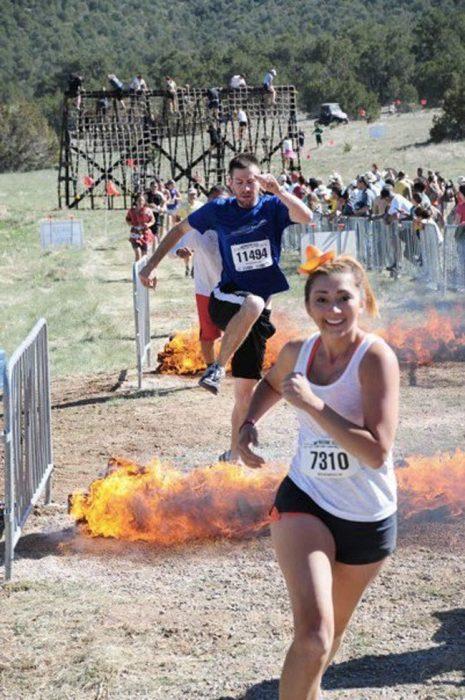 corriendo sobre fuego