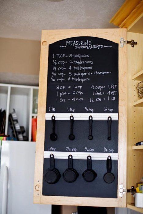 Ideas para espacios pequeños organizador de tazas medidoras y pizarron