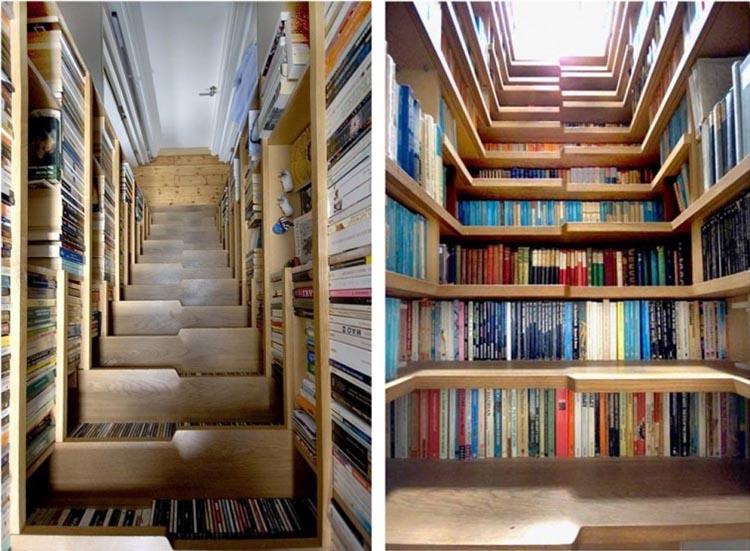 Ideas para espacios pequeños pequeña biblioteca en las escaleras