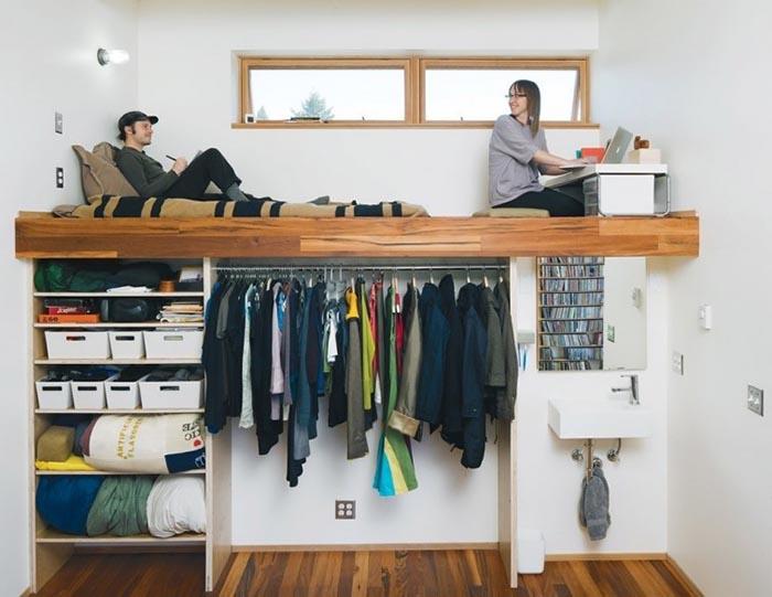Ideas para espacios pequeños base de cama y guardarropa dos en uno
