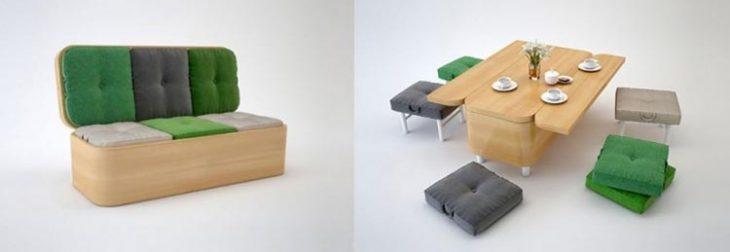 Ideas para espacios pequeños sillón y mesa dos en uno