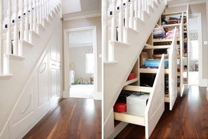 Ideas para espacios pequeños escalera con compartimentos para guardar cosas