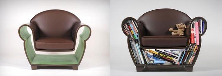 Ideas para espacios pequeños sillón con espacio para guardar libros