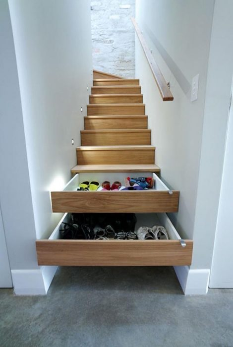 Ideas para espacios pequeños cajones en las escaleras