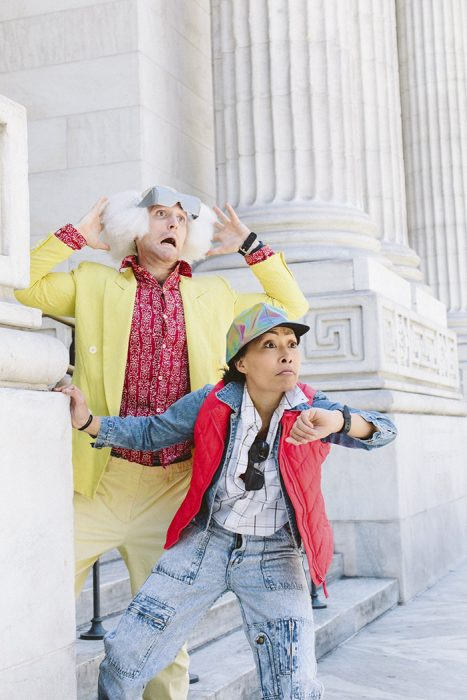 "Marty McFly y Doc Brown de ""Regreso al futuro"" fotos de compromiso"