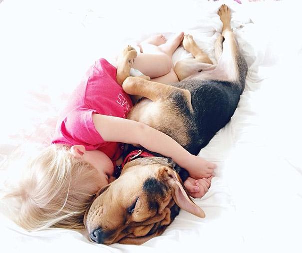 niño y perrito - blusa rosa