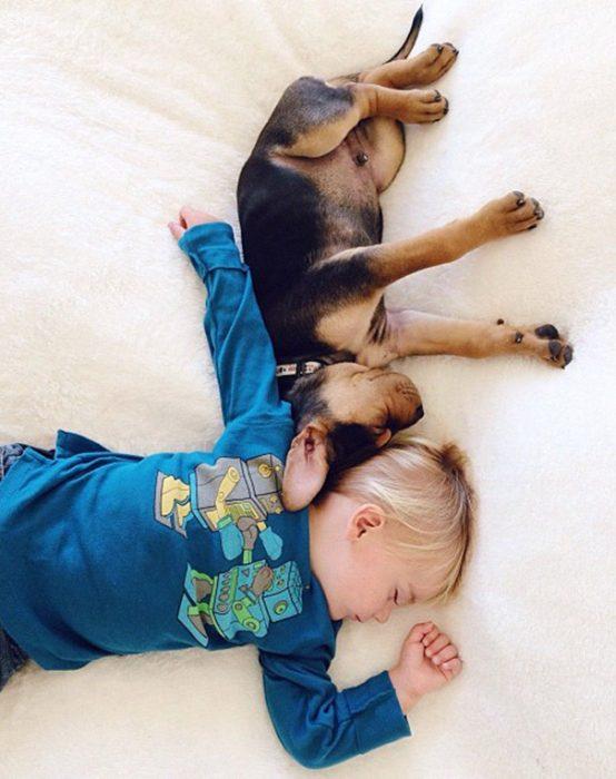 niño y perrito - pijama azúl