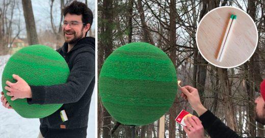 Cover Así se ve una esfera de cerillos cuando la enciendes