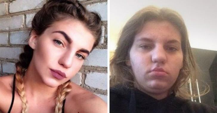 cambio de una mujer con maquillaje