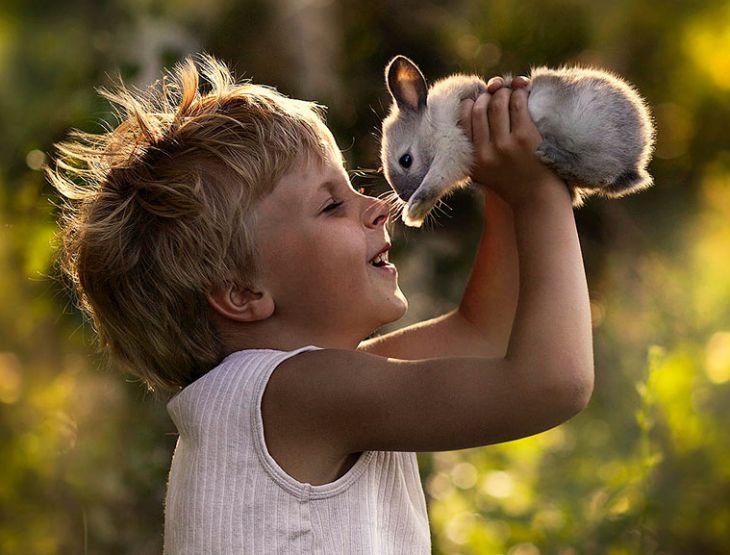 niño sosteniendo a un conejo