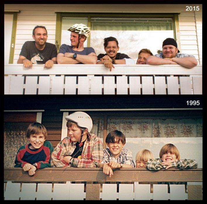 niños en balcón