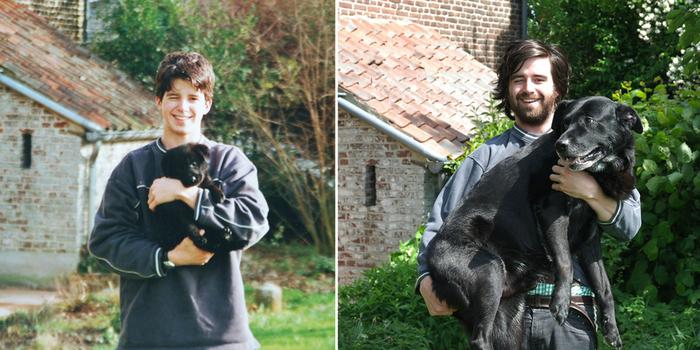 perro en brazos de su dueño