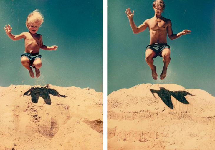 niño y hombre saltando
