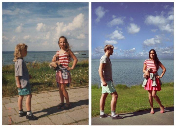 paisaje con un lago y dos personas