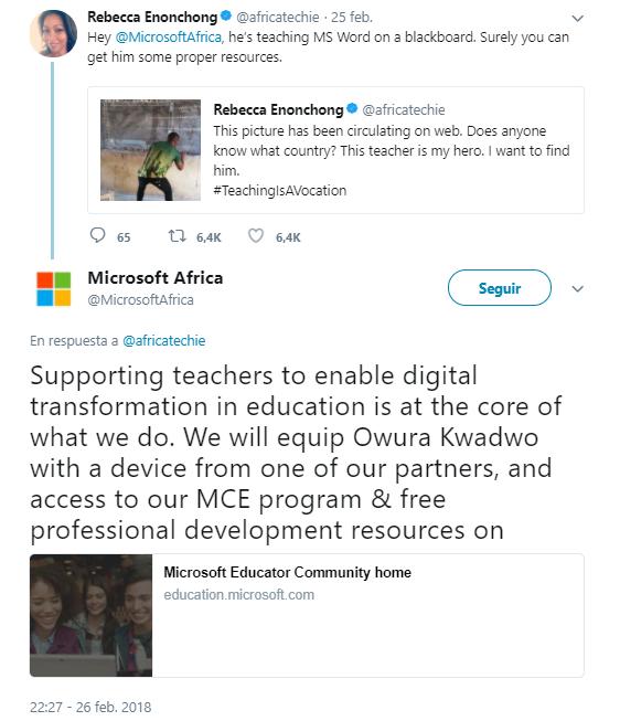 microsoft responde profesor