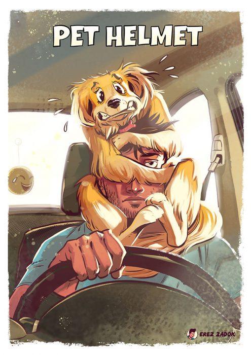 casco perro al volante