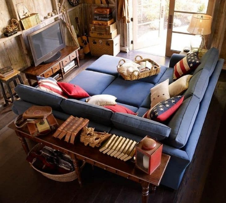 sillón para ver películas color azul
