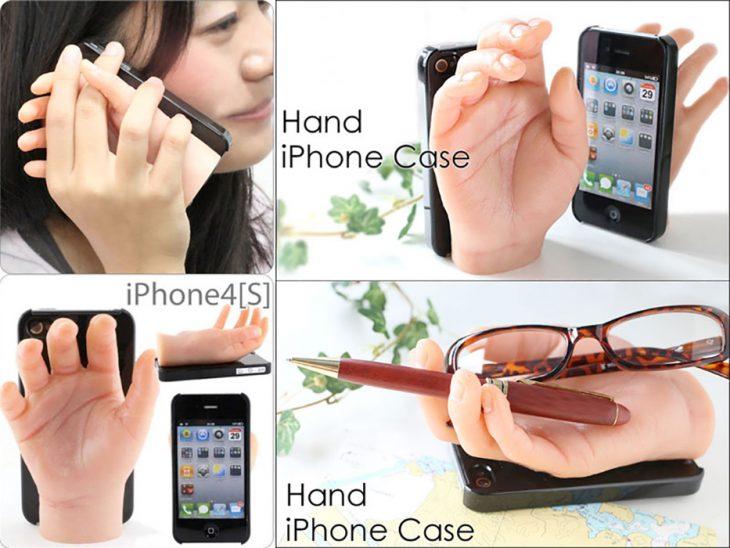 Funda de celular en forma de mano