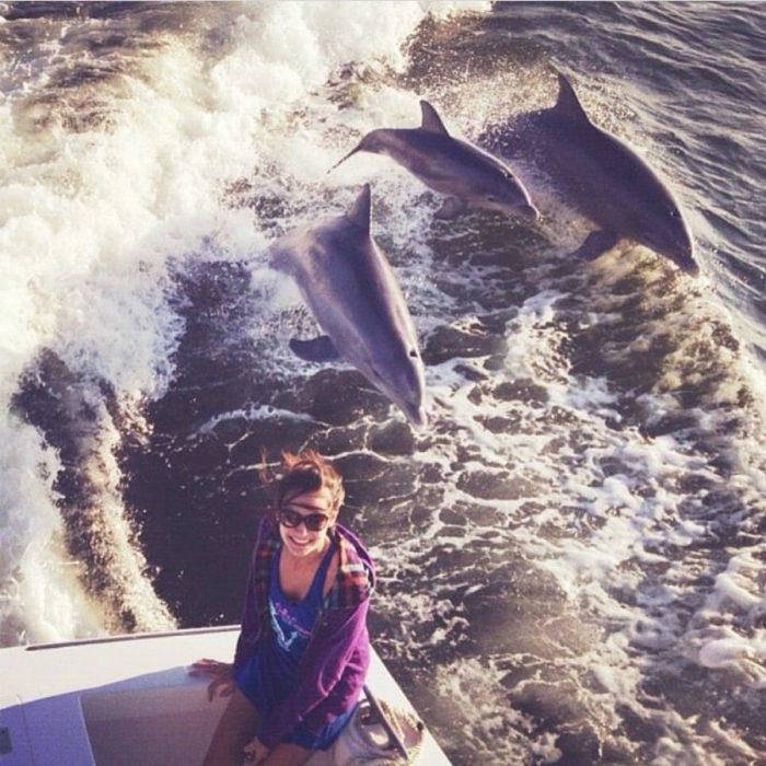 selfie con delfines