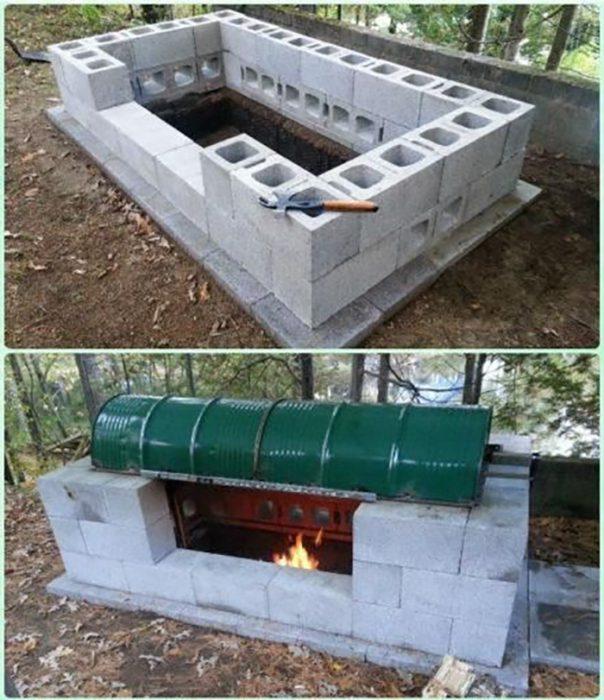 asador de bloques de cemento