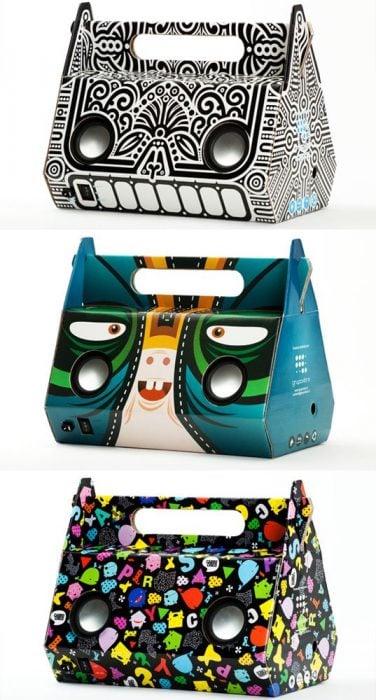 cajas de audífonos con diseños llamativos