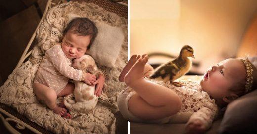 Cover Tiernas fotos de bebés acurrucándose con sus mascotas