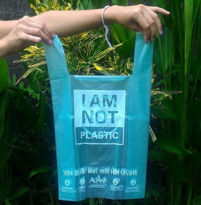 Bolsas desechables hechas de algas