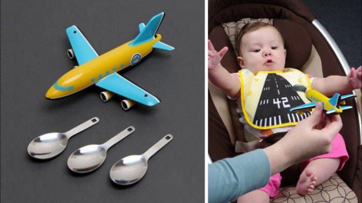 bebé y su cuchara en forma de avión