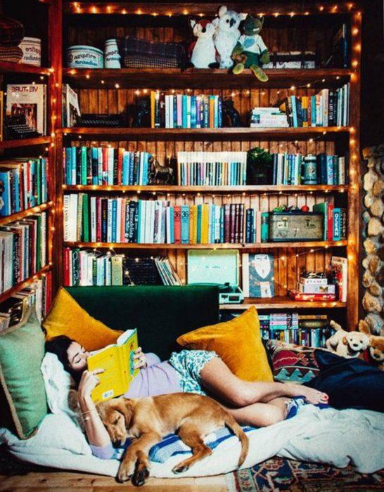 estantería de libros al lado de una camita
