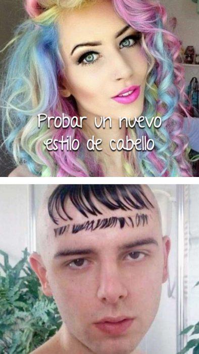 chica con cabello de colores vs chico con cabello mal cortado