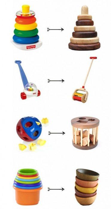 juguetes de plástico vs juguetes de madera