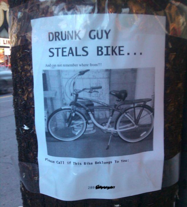 cartel sobre una bicicleta