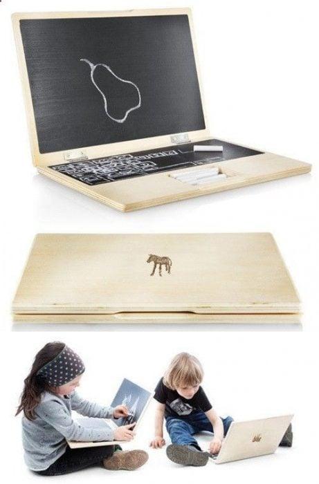 Laptop de madera para pintar con gis