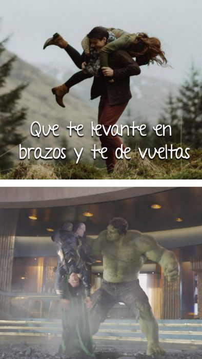 escena de chico cargando a chica vs hulk vs loki